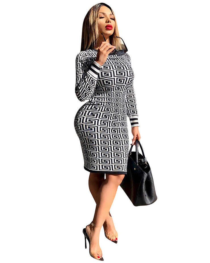 Hot Selling Evening Party Dresses  Summer Dress New Fashion Round Collar Long Sleeve Sexy Ribbed Print Slim Midi Dress Women