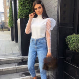 Women Ladies Summer Mesh Puff Long Sleeve Shirt Loose Casual Blouse Tops Elegant Turtleneck Solid Party Clubwear Soft Clothes