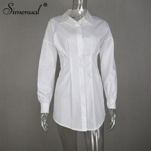 Simenual Solid White Women Shirt Dress Fashion 2019 Autumn Long Sleeve Sexy Mini Dresses Bodycon Slim Basic Ruched Short Dress