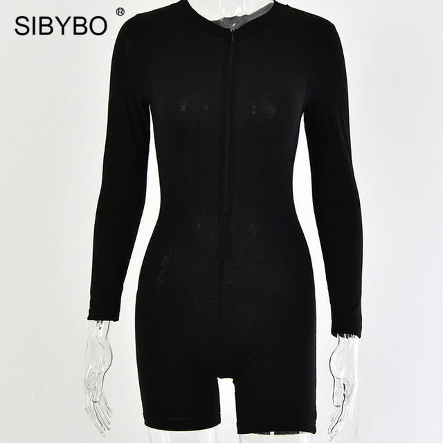 SIBYBO Autumn Long Sleeve Casual Playsuit Women O-Neck Skinny Cotton Rompers Womens Jumpsuit Solid Sexy Playsuits and Jumpsuits
