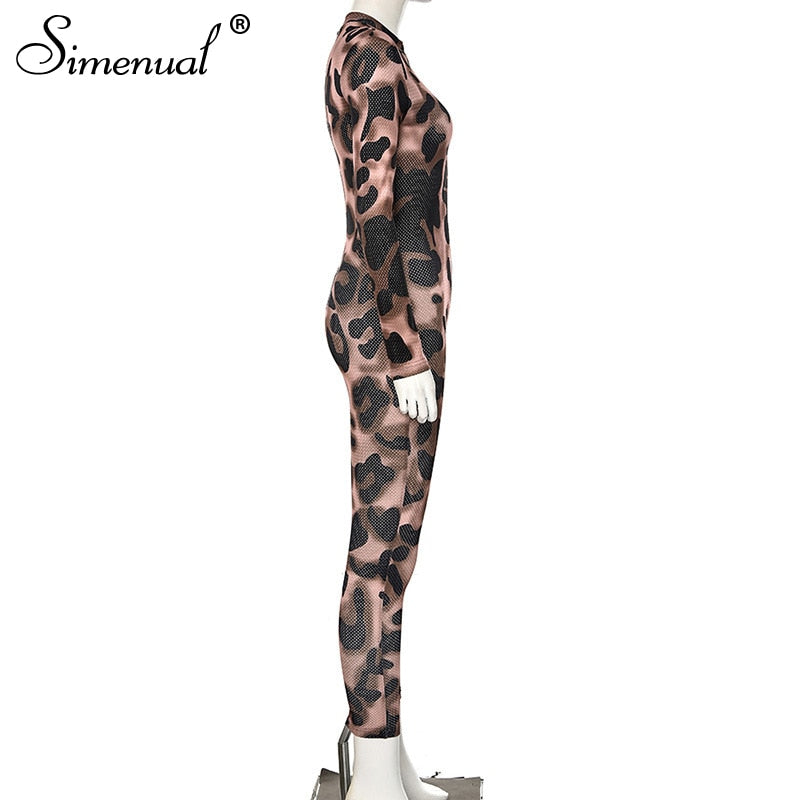 Simenual Leopard Push Up Fitness Sporty Jumpsuits Long Sleeve Hollow Out Workout Active Wear Zipper Rompers Womens Jumpsuit 2019