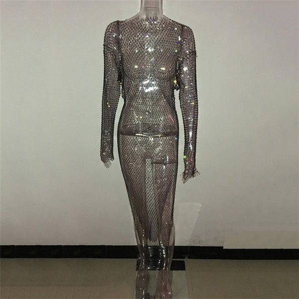 Shiny Rhinestones Grid Long Dress Women Sexy See Through Long Sleeves Fishnet Side Slit Long Dresses Chic Summer Beach Cover Up