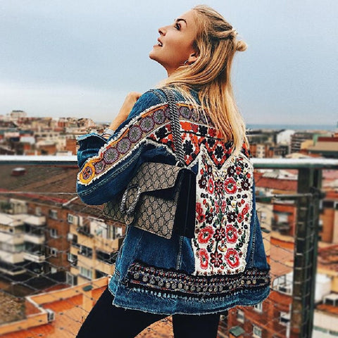 cotton Denim jacket floral embroidery retro boho appliques jacket coat women long sleeve denim outwear chaquetas