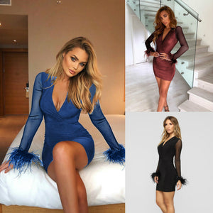 Autumn Women New V-neck Solid Color Tight-fitting High Waist Long-sleeved Mesh Fur Cuffs Hips Party Dress Silk Dress
