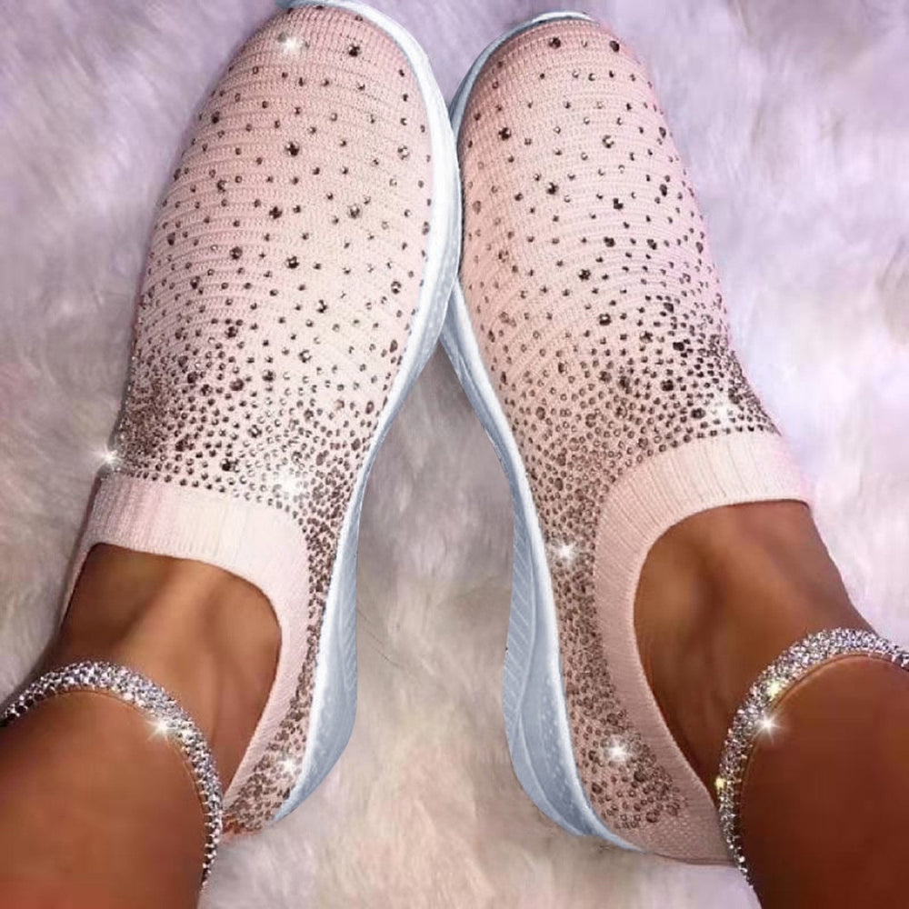 Women's Ladies Ankle Shoes Flat Loafers Crystal Fashion Bling Sneakers Casual Ladies Slip On Breathable Casual Shoes
