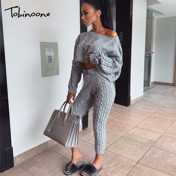 Tobinoone Womens Two Piece Sets Autumn Pants Set Casual Gray Winter Long Sleeve 2 Piece Set Women Knitted Sweater Outfits