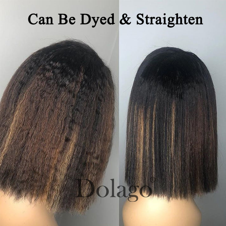 Kinky Straight 13x6 Lace Front Human Hair Wigs 180 Density Coarse Yaki Brazilian Short Bob 360 Lace Frontal Wig Dolago Full