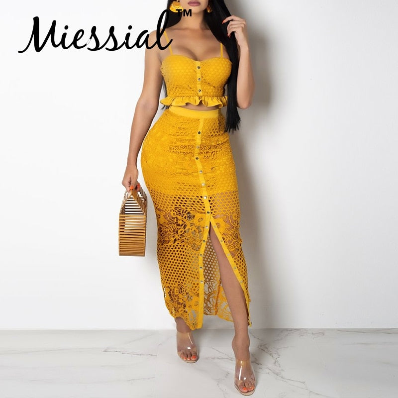 Sexy two-piece suit lace bodycon yellow dress Women white hollow out autumn Female party club elegant maxi dress winter