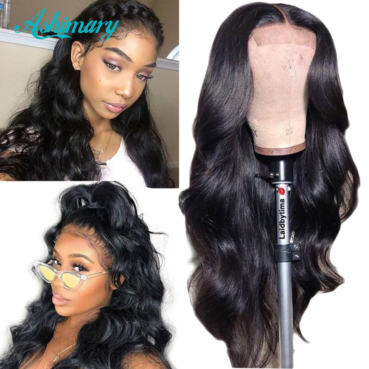 Ashimary 4x4 Lace Closure Wigs Human Hair Brazilian Body Wave Lace Wigs for Black Women Pre Plucked with Baby Hair 180 Density