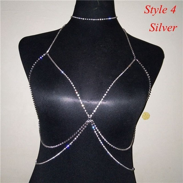 Crystal Rhinestone Bra Chest Body Chain Sexy  Women Shiny Bikini Jewelry Leg Chains For Summer Beach Dress body jewelry