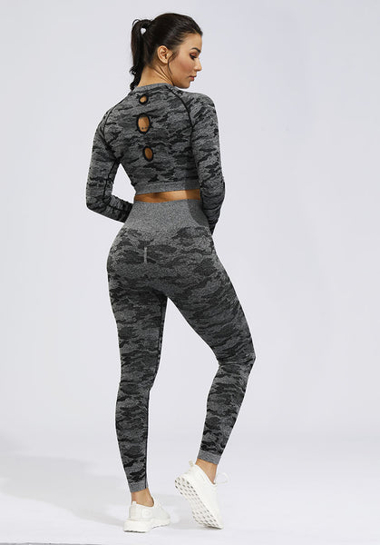 2PCS Camo Seamless Yoga Set Sportswear Women Fitness Clothing Booty Gym Leggings+Long Sleeve Crop Top Sport Suit Workout Clothes