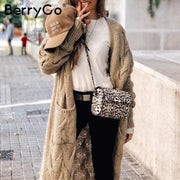 Vintage mohair long cardigan women sweaters female Long sleeve pocket winter cardigans Casual knitwear pure jumpers