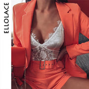 2 Two Piece Suit Women Long Sleeve Coat and Shorts Belt Sets Orange Matching Suit Female Fashion Autumn  New Outfit