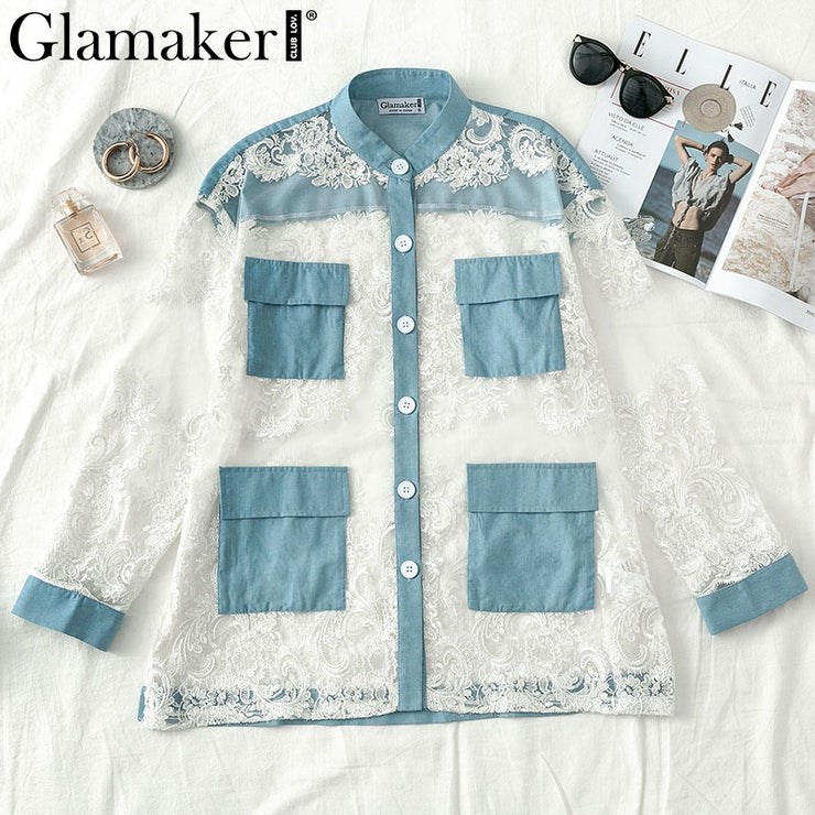 Denim patchwork blouse shirt women Streetwear transparent autumn shirt top Sexy long sleeve lace white blouse ladies