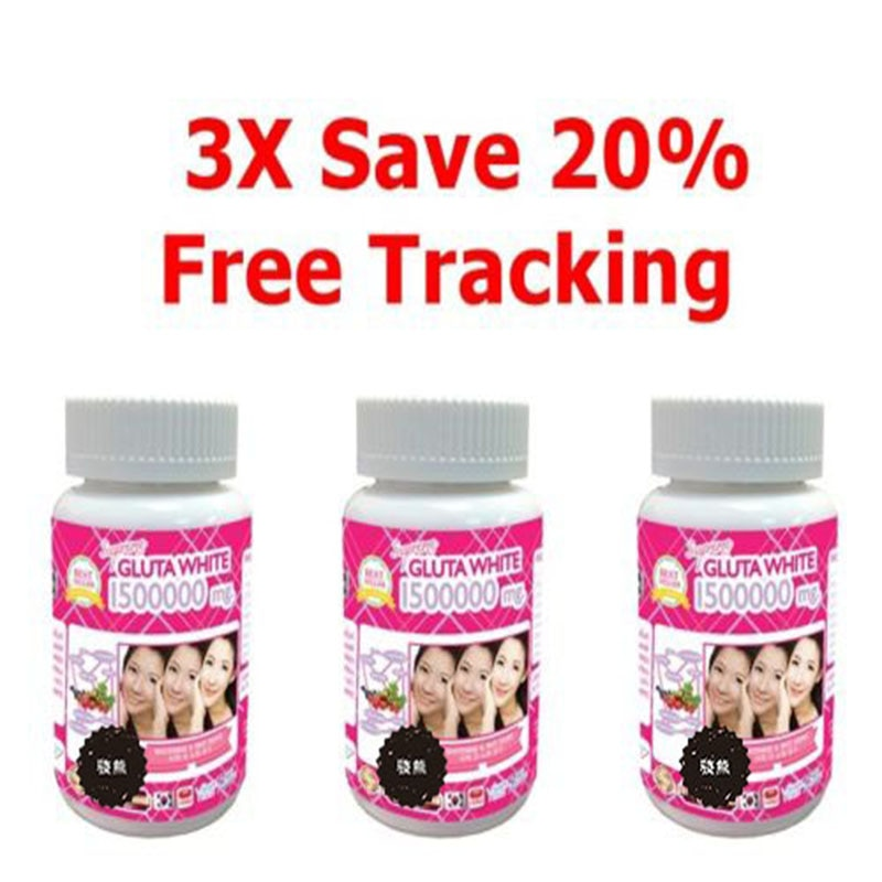 HOT 3x GLUTA 1500000 ULTRA STRONG WHITENING GLUTATHIONE WHITE Anti Aging Free Shipping