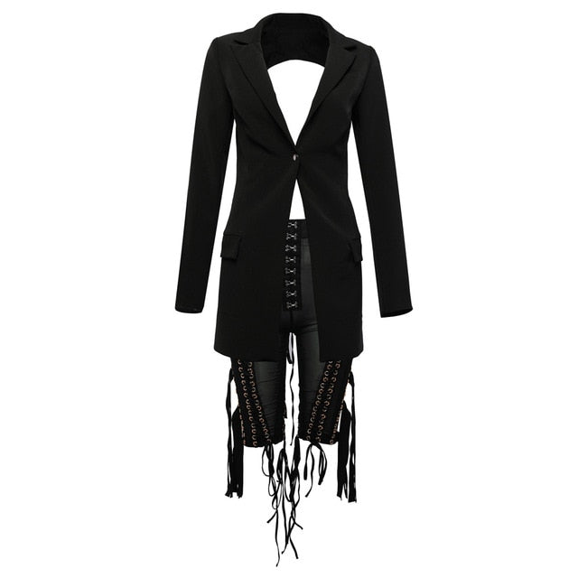 Sexy Women's Set Long Sleeve Cutout Jacket and Perspective Five Pieces Pants 2 Two Piece Club Celebrity Party Pants Set