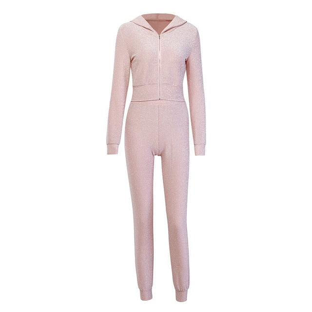 Cropped Zipper Hooded Coat And Pants 2 Pieces Set Women 2019 Autumn Fashion Female Pink Pullover And Trousers Bling Tracksuit