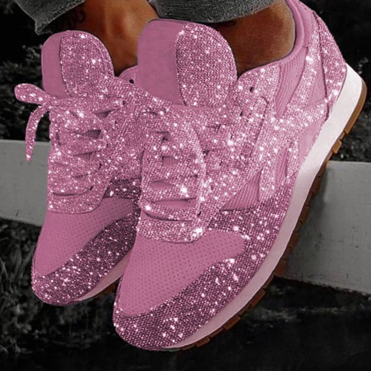 Casual Sneakers Women Fashion Breathable Crystal Sequin Shoes Bling Lace Up Low top Round Sport Shoes Sneakers zapatos de mujer