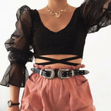 Brand New Women Casual Sheer Mesh Puff Sleeve Cropped Top Slim Fit Tee T-shirt Deep V Neck Bandage Sexy Crop Tops