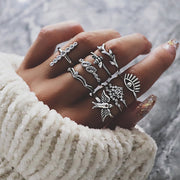 50 Styles Women Bohemian Vintage Crown Wave Flower Heart Lotus Star Leaf Crystal Opal Joint Ring Party Jewelry Silver Rings Set