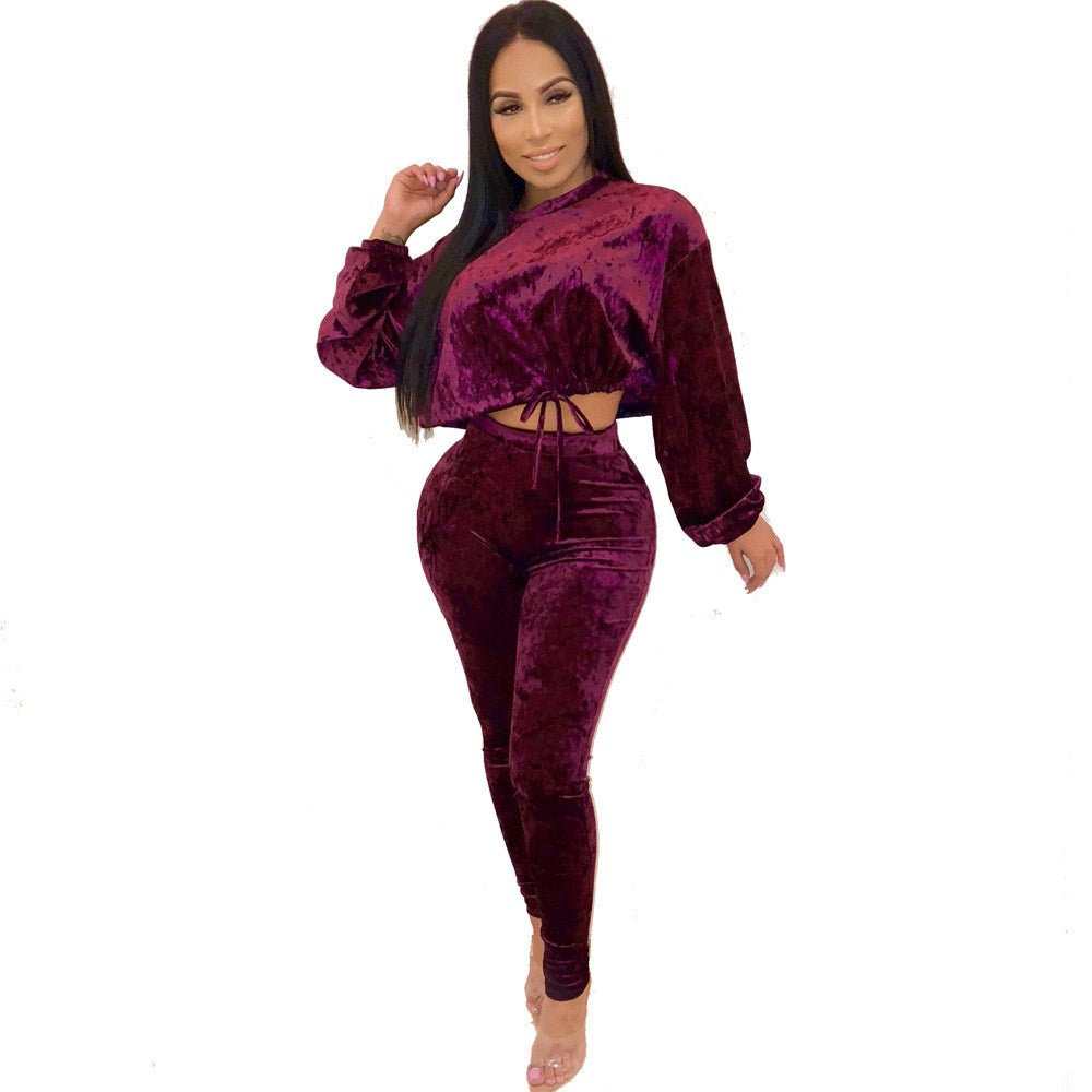 Vintage Solid Lace Up Women Velvet Two Piece Suit New Crop Sweatshirts and High Waist Pencil Pants Casual Outfits