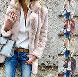 Autumn Winter Faux Fur Plus Size 3XL Elegant Thick Coat Women Oversize Jacket Long Sleeve Turn Down Collar Outwear Warm Cardigan