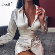 Liooil Satin Sexy Mini Shirt Dress With Pockets Fall Long Sleeve Button Up Belt Orange Club Short Dresses Woman Party Night