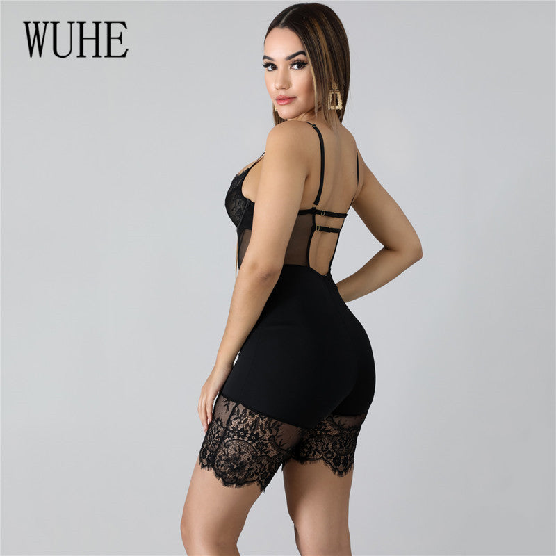 Lace Patchwork Sexy Spaghetti Strap Jumpsuits Women Off Shoulder Sleeveless Elegant Bodycon Bandage Party Short Playsuits
