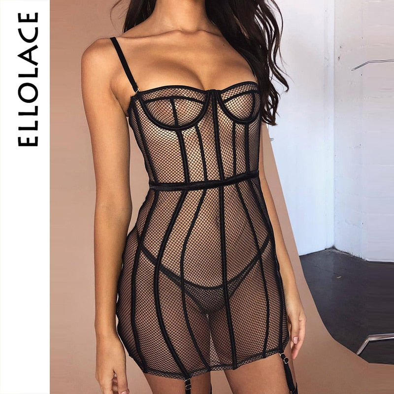 Mesh Sexy Bodycon Dress Women Hollow Out See Through Summer Mini Dress Patchwork Transparent 2019 New Party Vestidos