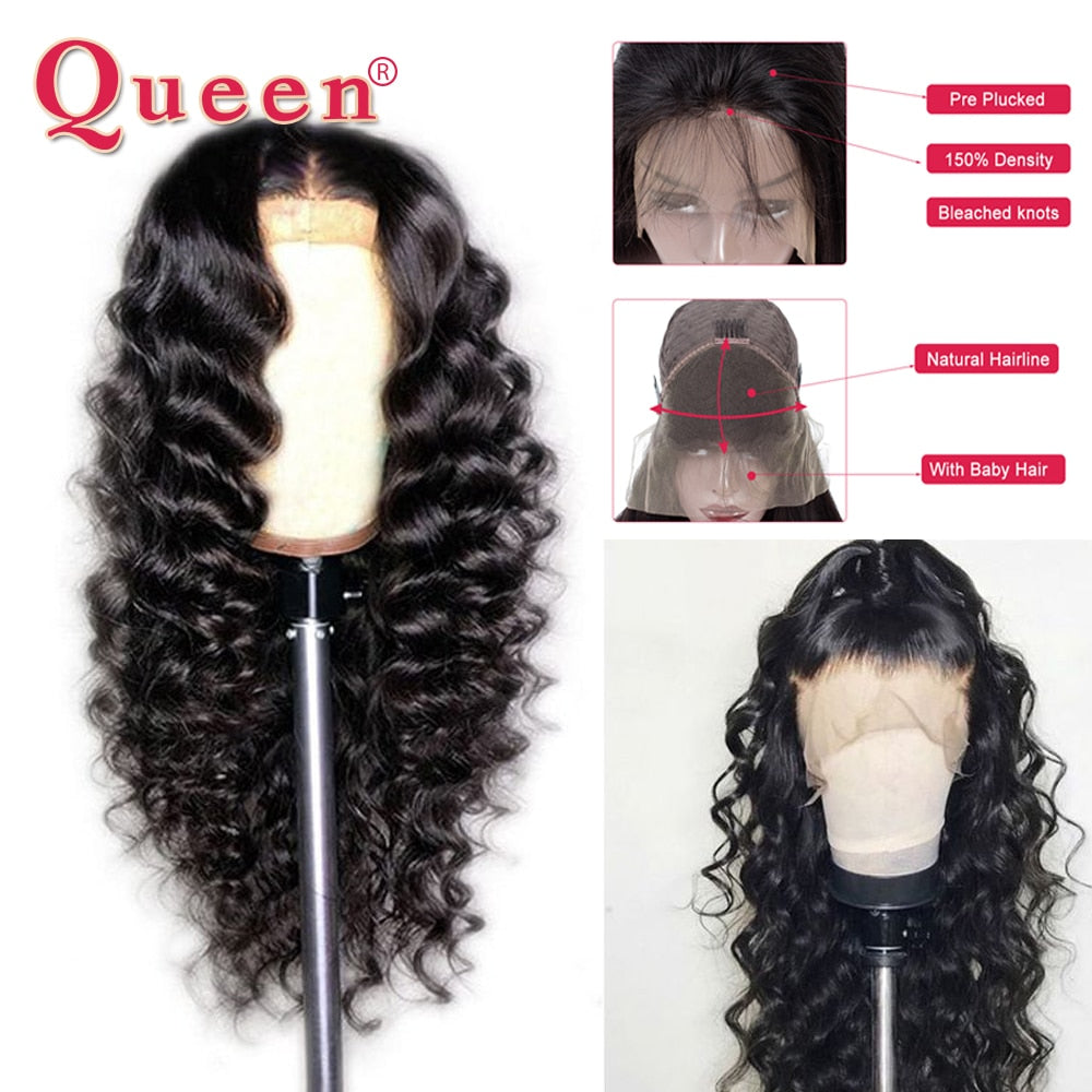 Loose Deep Wave Lace Front Human Hair Wigs Brazilian 100% Human Hair Wigs 360 Lace Frontal Wig For Black Women Swiss Lace Queen