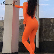 Simenual Neon Color Fitness Sports Wear Matching Set Women Casual Fashion 2 Piece Outfits Zipper Long Sleeve Top And Pants Sets