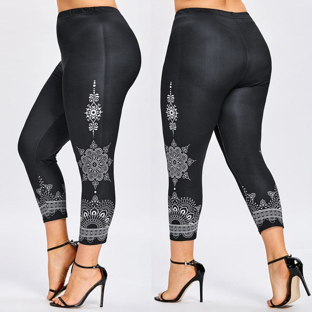 Sexy Women Plus Size Leggings 5XL Space Dye Printed Casual Skinny Leggings Female Pencil Casual Pants Ladies Trousers