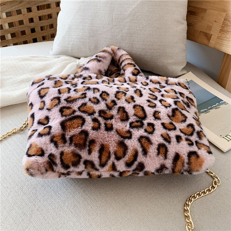 Winter new fashion shoulder bag female leopard female bag chain large plush winter handbag Messenger bag soft warm fur bag