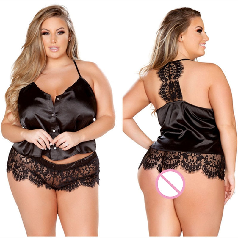 Open Erotic Suit Black Plus Size Xl Xxl Xxxl 4xl 5xl Split Lace Sexy Sets for Women Nightdress Costumes Erotic