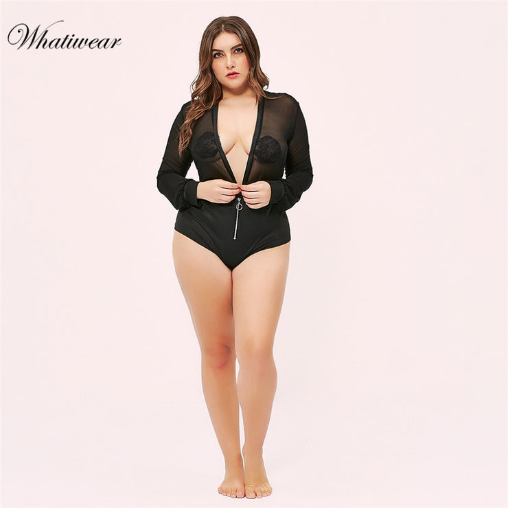 Whatiwear Plus Size long sleeve lace bodysuit transparent female body sexy teddies jumpsuits women deep V sheer bodysuits