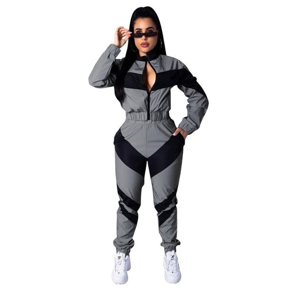 Autumn Patchwork Women Two Piece Outfits Zipper Turtleneck Long Sleeve Crop Top + Pants Streetwear Tracksuit Women Matching Sets
