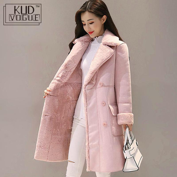 Women Suede Fur Winter Coat Fashion Thick Faux Sheepskin Long Jacket Overcoat Female Solid Warm Trench Coats