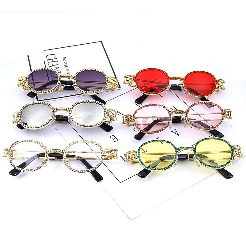 Colorful Small Round Rhinestone Sunglasses Women Steampunk Diamond Sun Glasses Classic Eyeglasses Men Clear Lens Vintage Shades