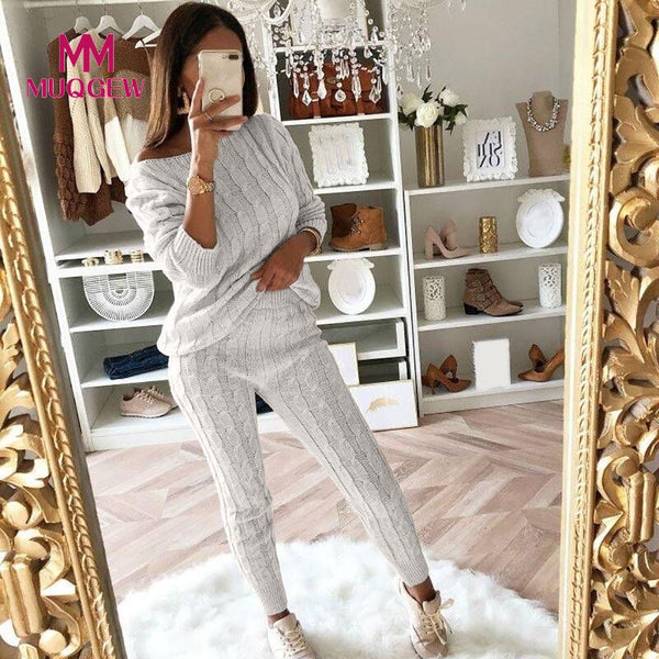 set 2 pcs tracksuit women large sizes Womens Ladies Solid Off Shoulder Cable Knitted Warm Loungewear Suit Set vestido elbise robe