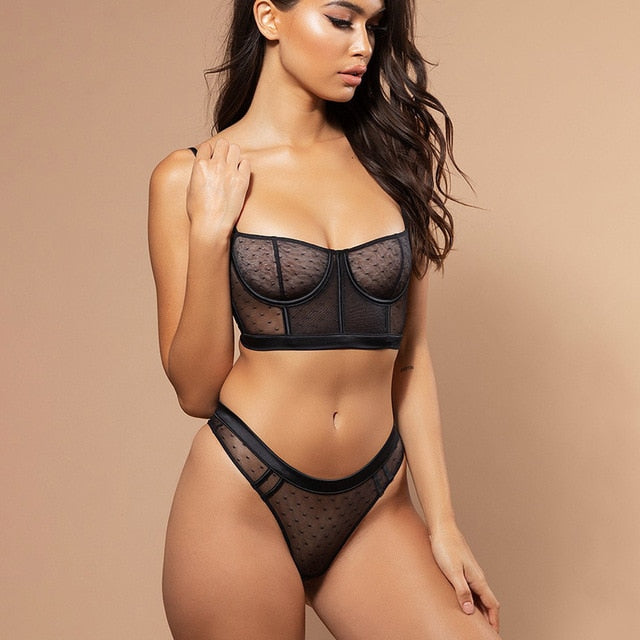 Sexy Lace Underwear Lingerie Set Women Bra Brief Sets Mesh Transparent Fashion 2019 Black White Push Up Lingerie Sets