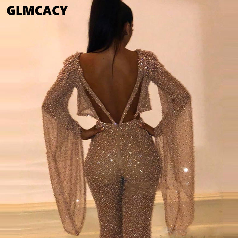 Women Sexy Glitter Sparkly Backless Jumpsuits Evening Party Clubwear Sexy Long Overalls Chic Dancer Night Out Outfits