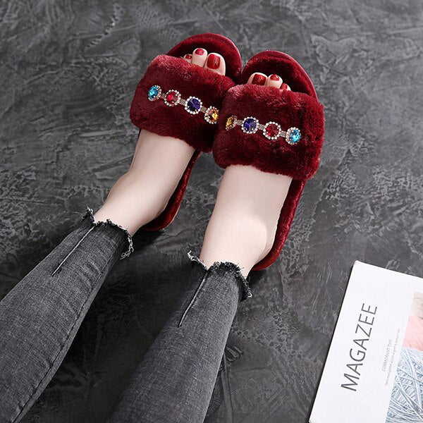 Women Slippers Winter Shoes Warm Luxury Rhinestone Home Slippers Fur Indoor Shoes Slip On Casual Shoes Flats Woman Slides New DE