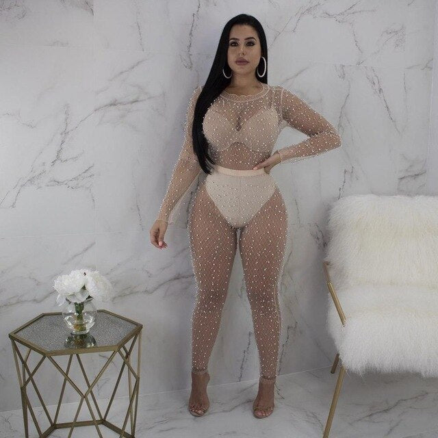 Mesh Sheer Bodysuit Rompers Womens Jumpsuit Long Sleeve Beading See Through Clubwear Party Bodycon Jumpsuits Summer
