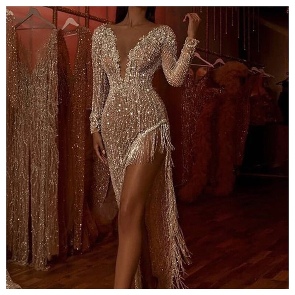 Women Sexy Sparkling Party Dress Tassel Sequin Glittering Dress Deep V Long Sleeve Side Slit Sexy Asymmetrical Dress Female
