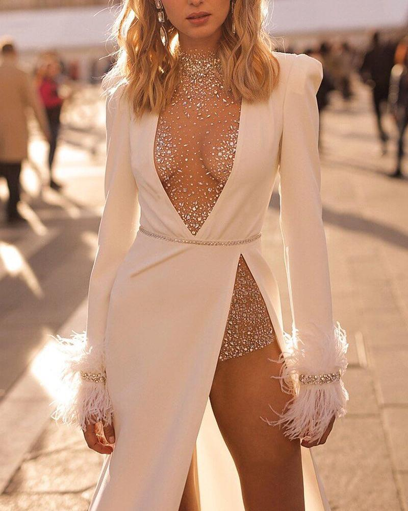 Women Deep V Studded Embellished Winter Dress White Long Sleeves Split Party Dress vestidos