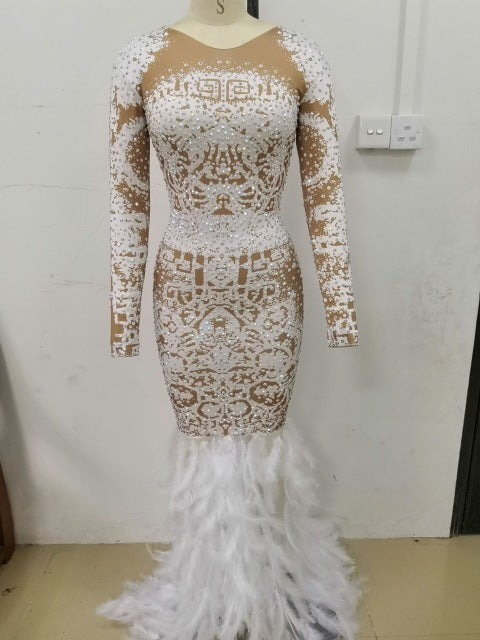 High Quality High Elastic Long Sleeve Beading Feather Trumpet Dress Evening Party Dress Costumes