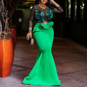 African Ladies Plus Size Bodycon Long Party Mermaid Dress Sexy Transparent Mesh Ruffles Women Wedding Evening Maxi Dress Trumpet