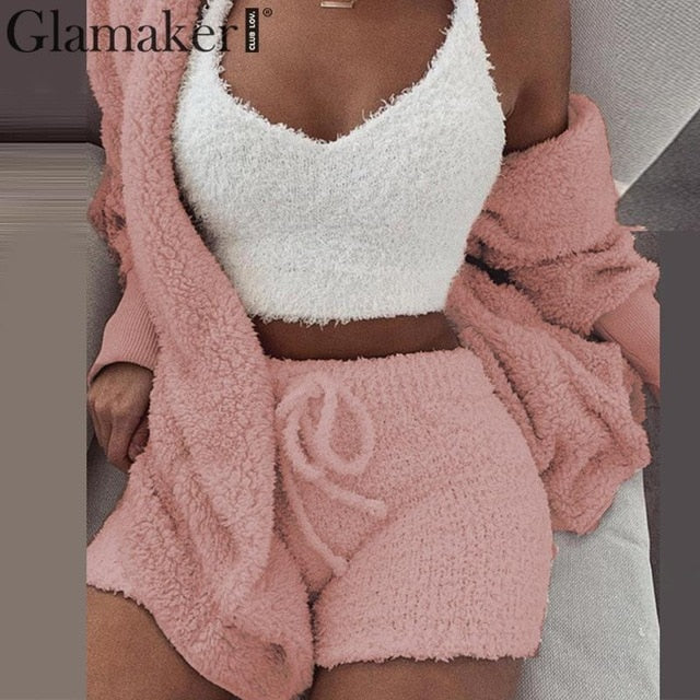 Knitted 2 piece set short jumpsuit & romper Women autumn soft warm sexy playsuit Winter female plus size club overalls