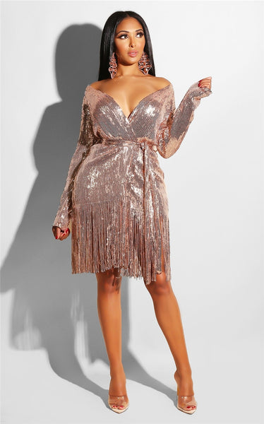 Tobinoone Sequin Mini Dress Women Sexy High Split party Dress  Tassel V Neck Autumn Winter Dresses Vestidos