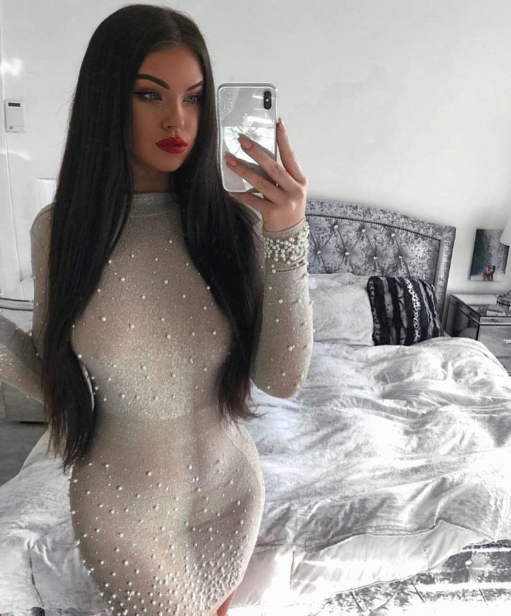 Autumn Dress Women Sexy Long Sleeve Beading Party Dress 2020 Ladies Elegant Designer Celebrity Mini Bodycon Dress